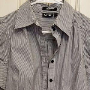 Apt 9 essential basics black & white stripe shirt